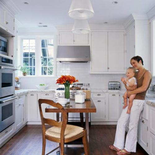 dominierend akzent weiß modulsystem holz esstisch Küchen Grundrisse