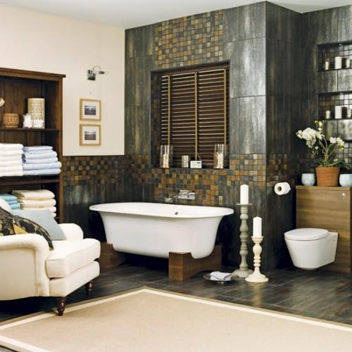dunkle badezimmer design dunkle holz elemente