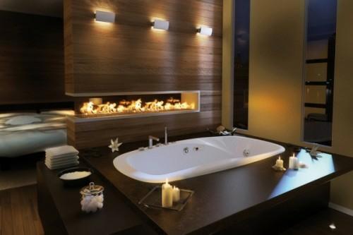 dunkle badezimmer design ideen einbaukamin holz möbel