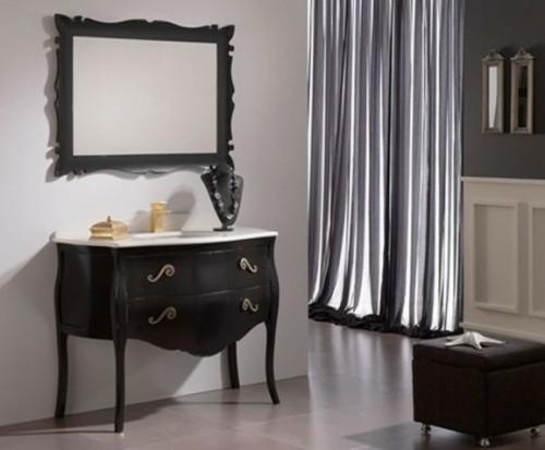 dunkle badezimmer design ideen schwarz weiß antik möbel