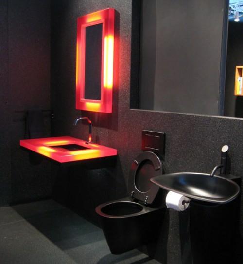 dunkle badezimmer design lichtakzente komplett schwarz