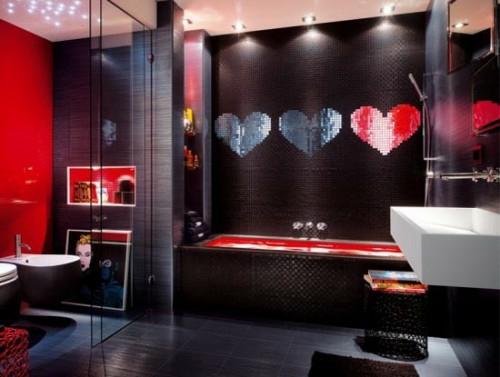 dunkle badezimmer design popart rot schwarztöne