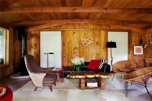 echtholz paneele idee wohnzimmer winterhaus gebirge schick
