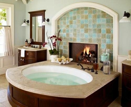 einbaukamin badewanne bad holz textur möbel