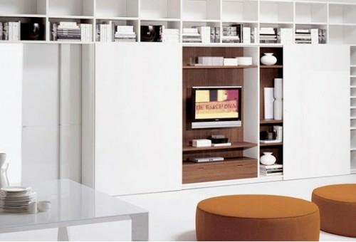 einbauregale weiß ausstattung aufbewahrung und organisation im wohnzimmer