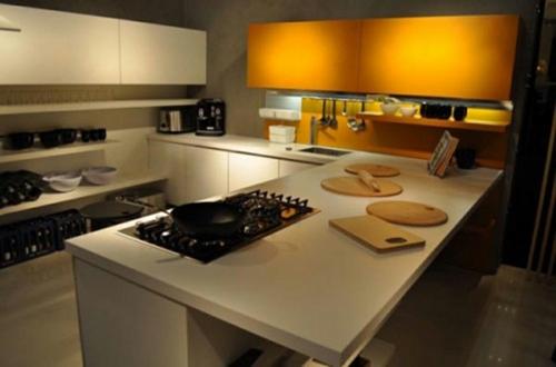 eindrucksvoll weiß orange Ihre kleine Küche texturen kompakt erweitert  küchenschränke