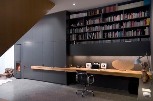 eingebaut häusliches arbeitszimmer interieur grau wände