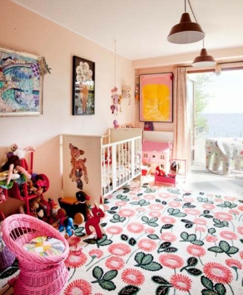 eklektische kinderzimmer design ideen blumen
