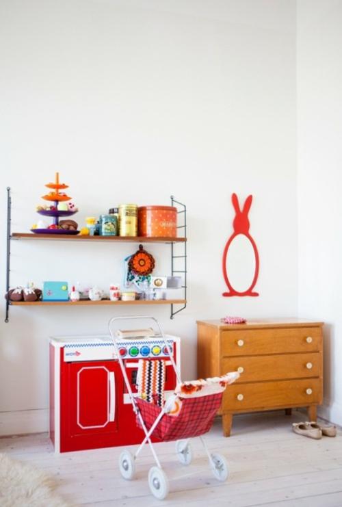 eklektische kinderzimmer design ideen rote farben
