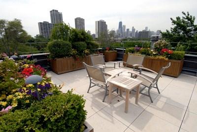 elegante Dachterrasse Holzstühlen Hocker Blumen Blumentopfe
