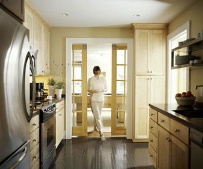 schmale Küchen Interieurs türen idee eng raum