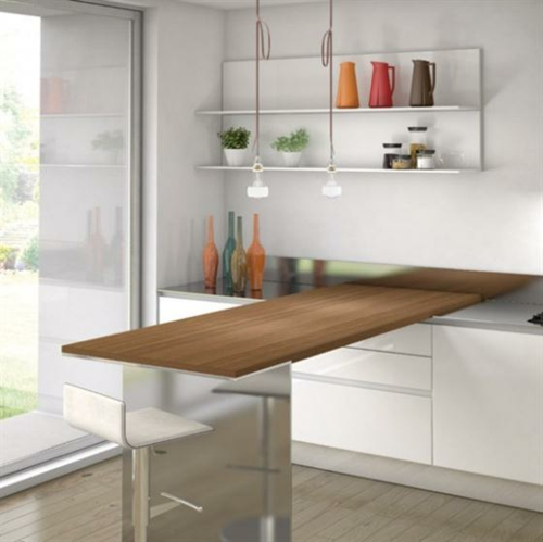 Küchen mit esstisch  25 schicke Design Ideen für kleine Küche - nützliche Vorschläge