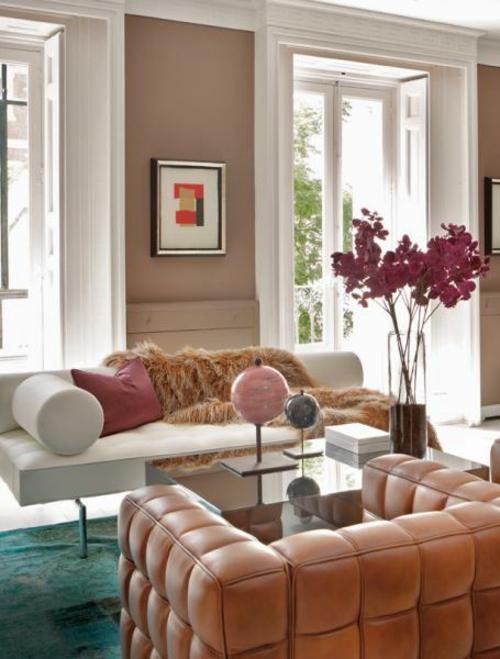 exklusive lachsfarbige interieur ideen ledersessel luxus