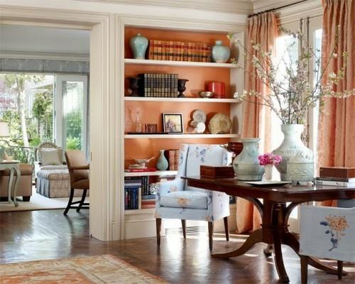 exklusive lachsfarbige interieur ideen originell wandregale weiß