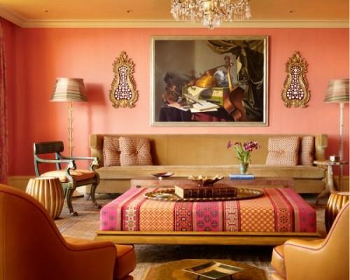 exklusive lachsfarbige interieur ideen originell wohnzimmer