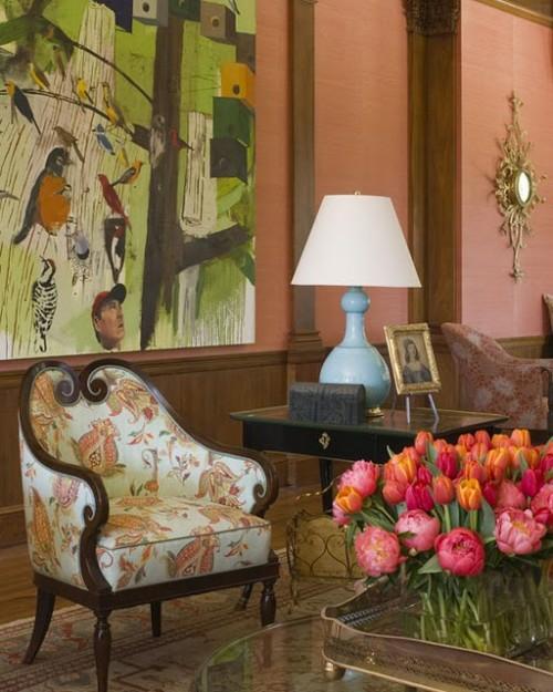 exklusive lachsfarbige interieur ideen wände tulpen frisch