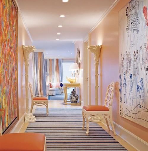 exklusive lachsfarbige interieur ideen wandmalerei streifen teppich