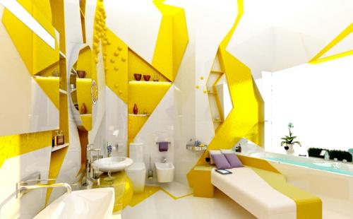 extravagant badezimmer design idee bunt gelb grell