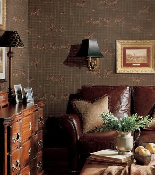 Interieur Ideen im französischen Landhausstil elegant dunkel naturholz wickelkommode ledersessel dunkle wände