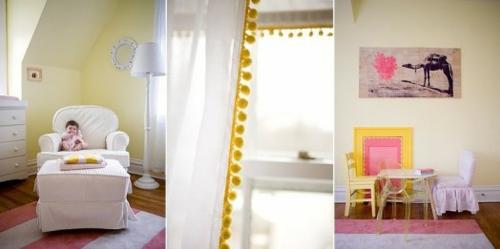 extravagant stilvoll zweifarbiges farbschema idee gelb rosa babyzimmer