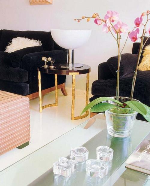 Extravagant Wohnzimmer Dekorativ Orchideen Seitentisch Samtsofas Schwarz