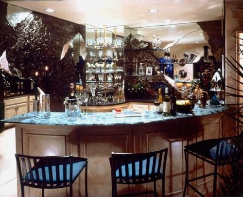 fantastische Hausbar Arbeitsplatte Murmel Barhocker blaue