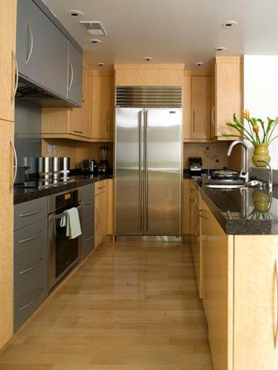 fein einwandfrei schmale Küchen Interieurs holz hell