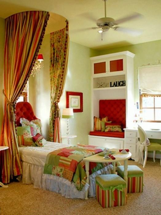 fensternische gardinen farbe grüne Kinderzimmer Interieurs