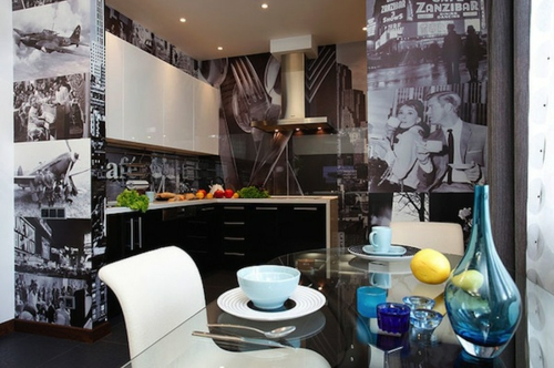 film stücke tapeten schwarz weiß design idee küche
