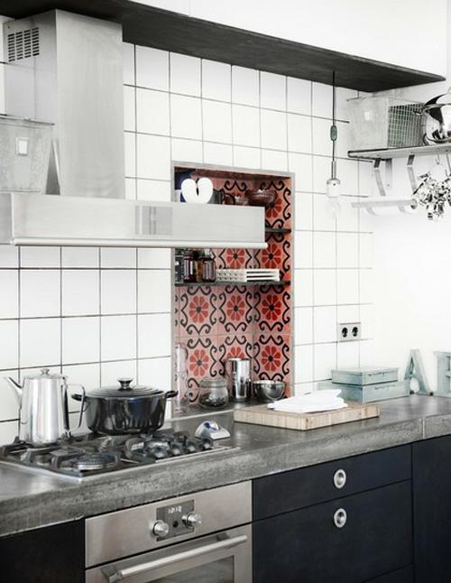 fliesen weiß küchenspiegel retro küchen design