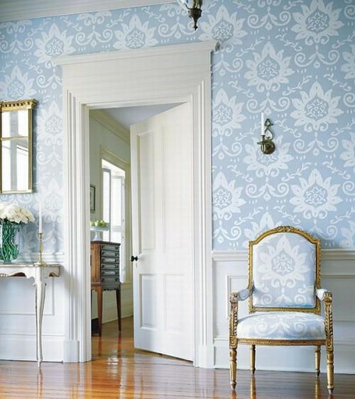 flur glanzvoll bodenbelag klassisch ausstattung blau weiß ornamente blumenmuster-wände