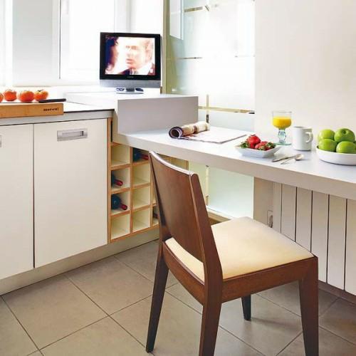 frühstückstisch küche fernseher idee design
