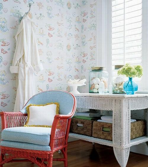 Interieur Ideen im französischen Landhausstil badezimmer grelle lebhafte blasse farbkombination