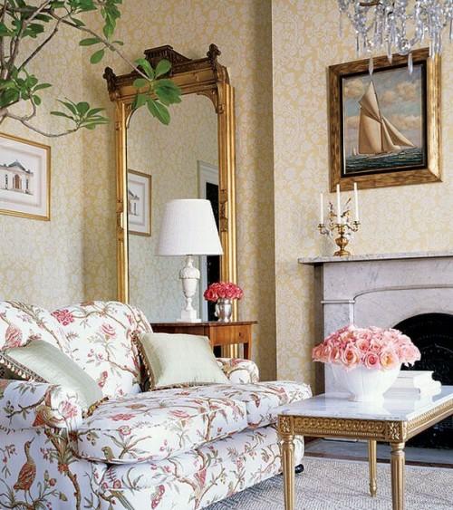 französischen landhausstil wohnzimmer dominierend weiß farbe naturmotive elemente