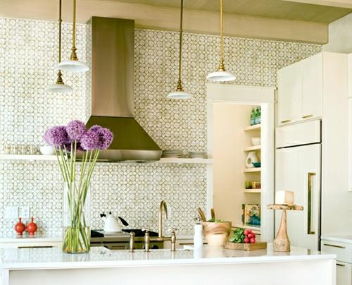 frisch lila blumen idee küchenblock küchenspiegel design