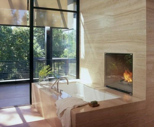 garten baum ausblick badewanne einbaukamin bad