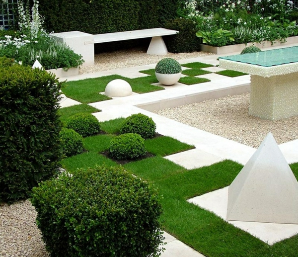 garten ideen gartengestaltung geometrische muster grünes gras pyramiden buchsbaum