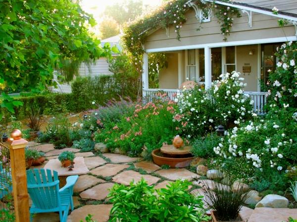 garten ideen steinplatten sommerblumen gartenbau