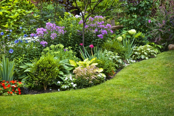 gartengestaltung blumengarten grünes gras sommerblumen