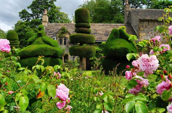 gartengestaltung landschaft gartenbau rosen buchsbaum pflanzenskulpturen