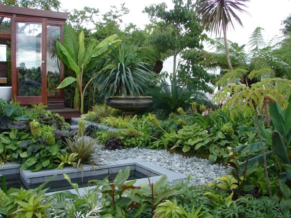 gartenideen tropische pflanzen bananenpalme natursteine gartenteich