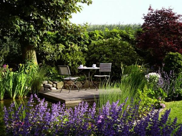 gartenmöbel gartenzubehör wasserpflanzen gartenteich runde tisch stühle