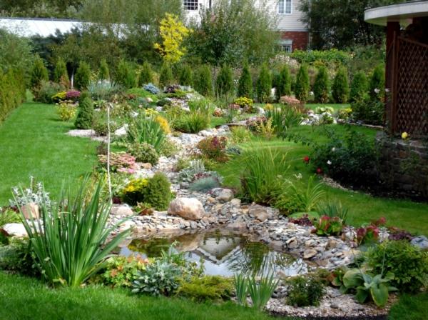 gartenteich natursteine gartenpflanzen gatenbau