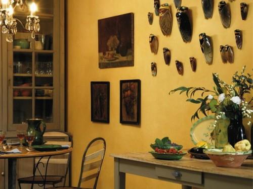 gelb wand essecke bereich küche französisch