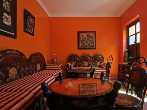 gesättigt rot farbe design wohnzimmer orient