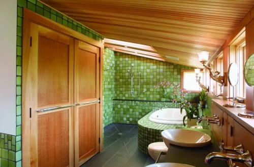grüne badfliesen dachgeschoss badezimmer