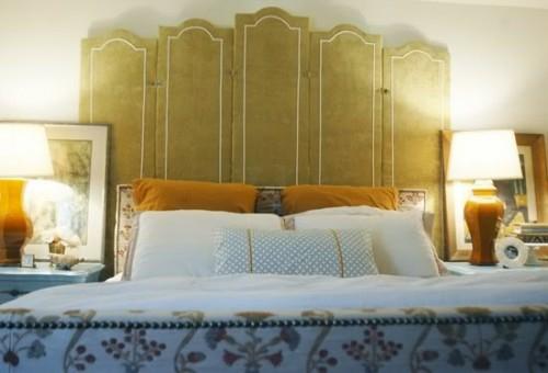 grassgrün trennwand kopfbrett idee schlafzimmer design