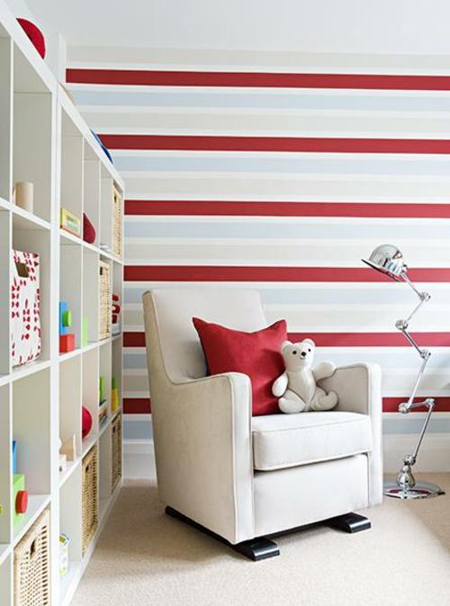 grelle rote horizontale streifen wand tapeten weiß attraktive Wanddekoration mit Streifen
