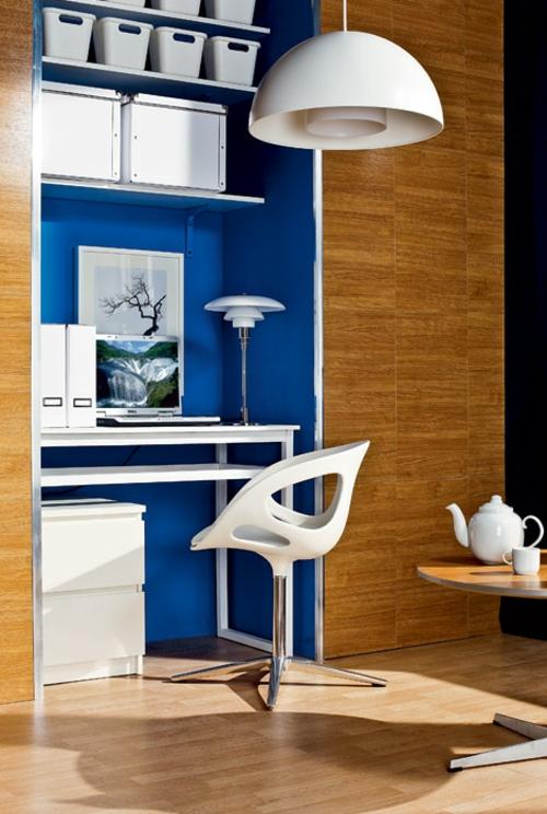 häusliches arbeitszimmer design idee blau kompakt praktisch