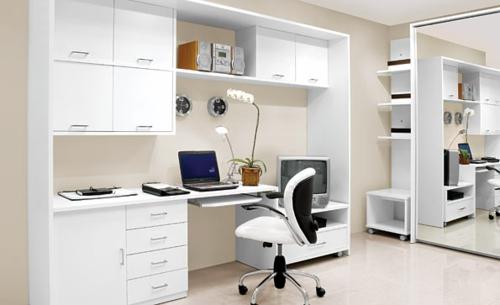 häusliches arbeitszimmer design tendenz weiß gemütlich